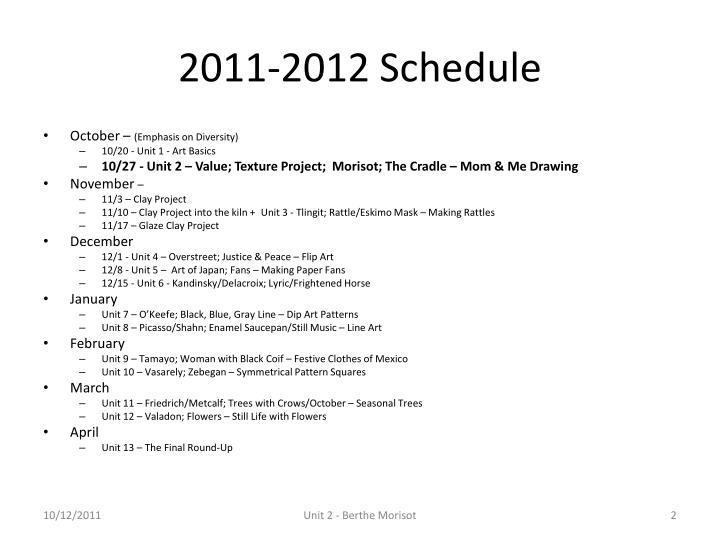 2011-2012 Schedule