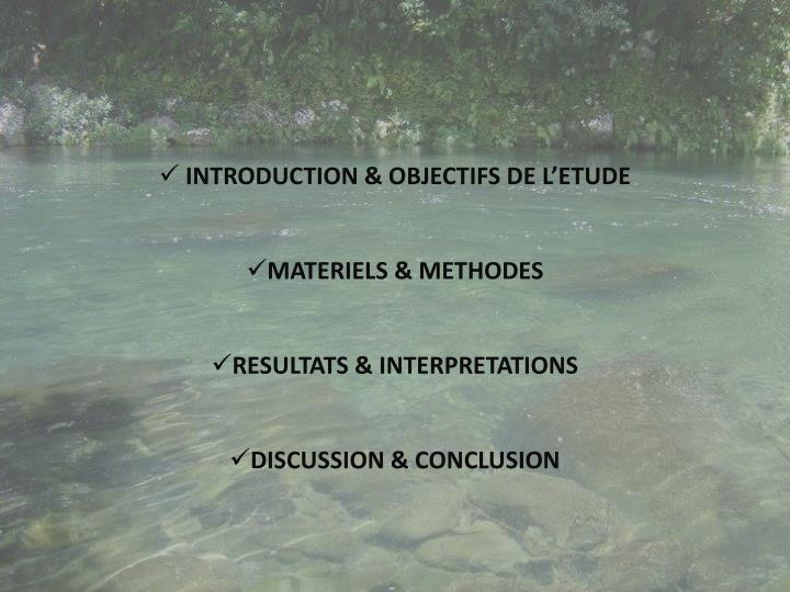 INTRODUCTION & OBJECTIFS DE L'ETUDE