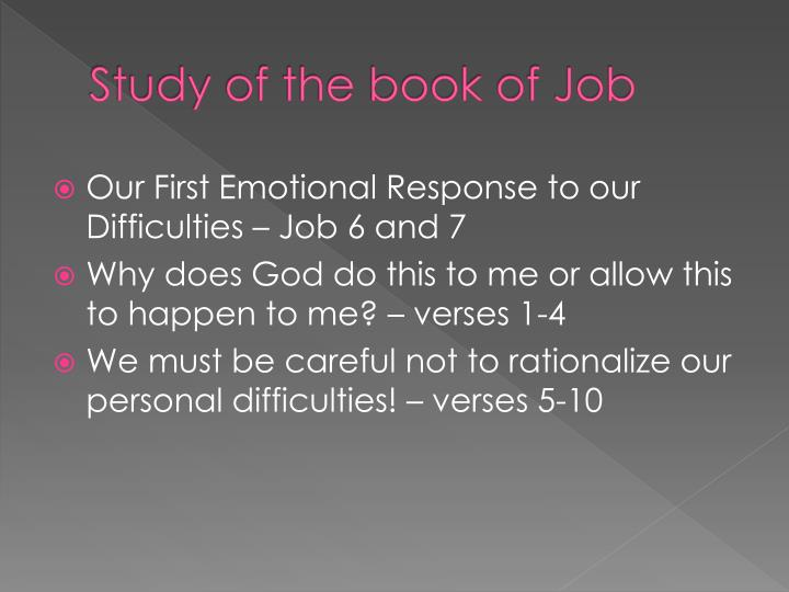 survey on the book of job Lessons from job satan s power is inferior to god s power, and his knowledge is less than god s suffering is not necessarily the result of  sin – a free powerpoint ppt presentation (displayed as a flash slide show) on powershowcom - id: 590ec2-otjjo.