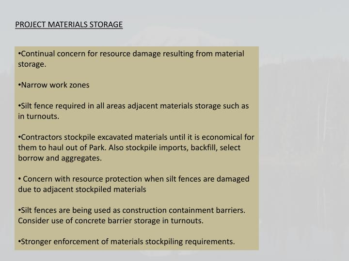 PROJECT MATERIALS STORAGE