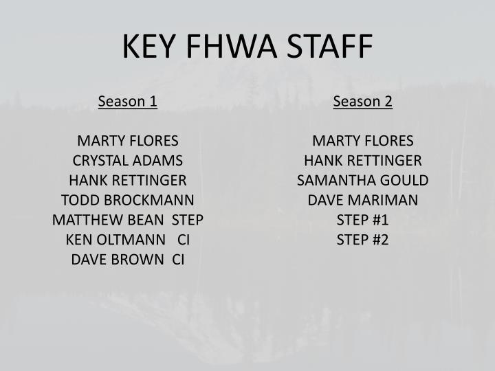 KEY FHWA STAFF