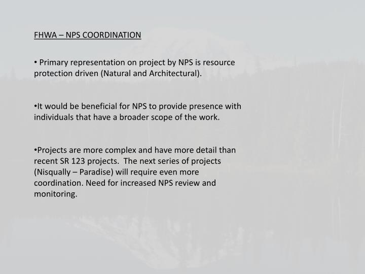 FHWA – NPS COORDINATION