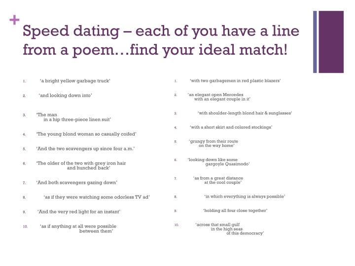 Speed dating each of you have a line from a poem find your ideal match