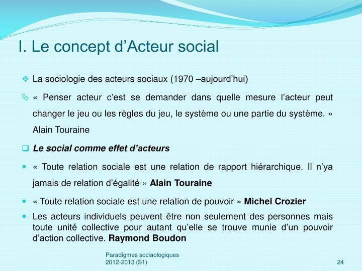 I. Le concept d'Acteur social
