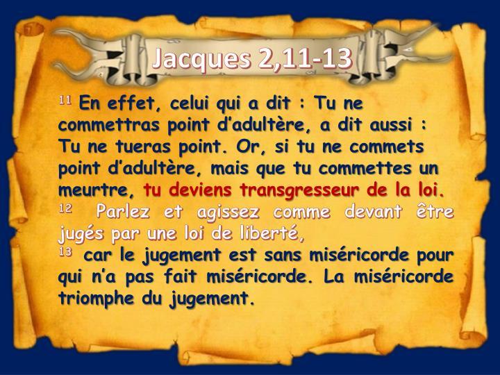 Jacques 2,11-13