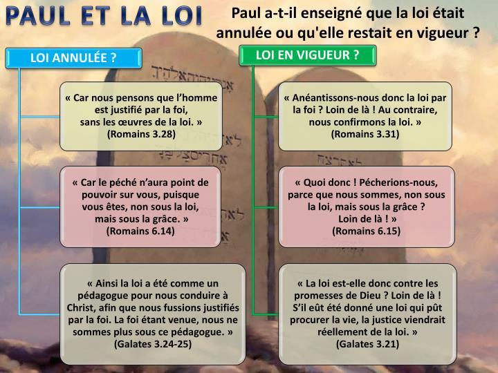 PAUL ET LA LOI