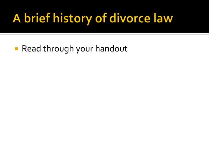 A brief history of divorce law