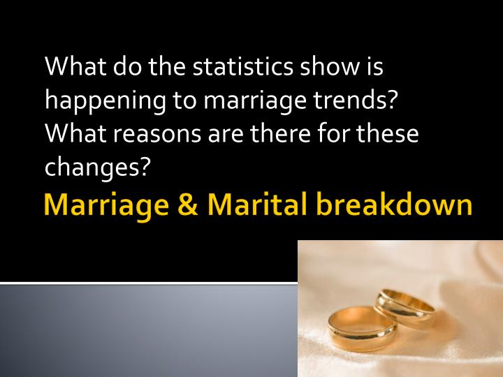 What do the statistics show is happening to marriage trends?