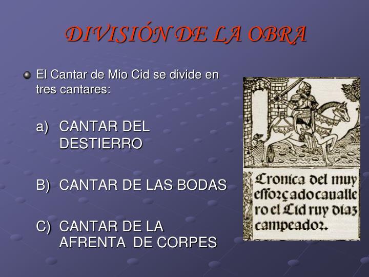 DIVISIÓN DE LA OBRA