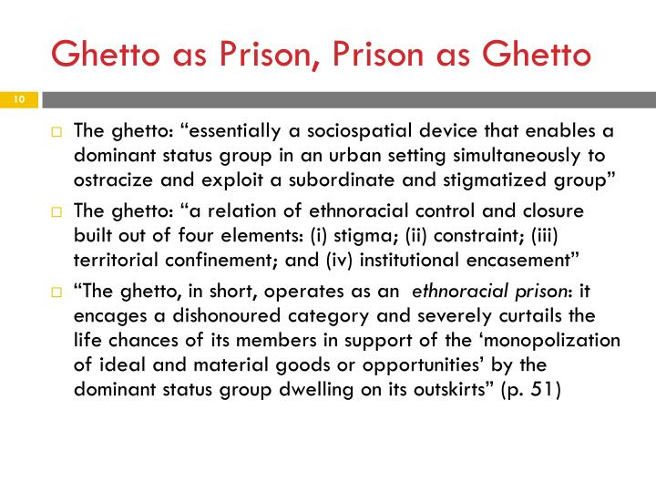 Ghetto as Prison, Prison as Ghetto
