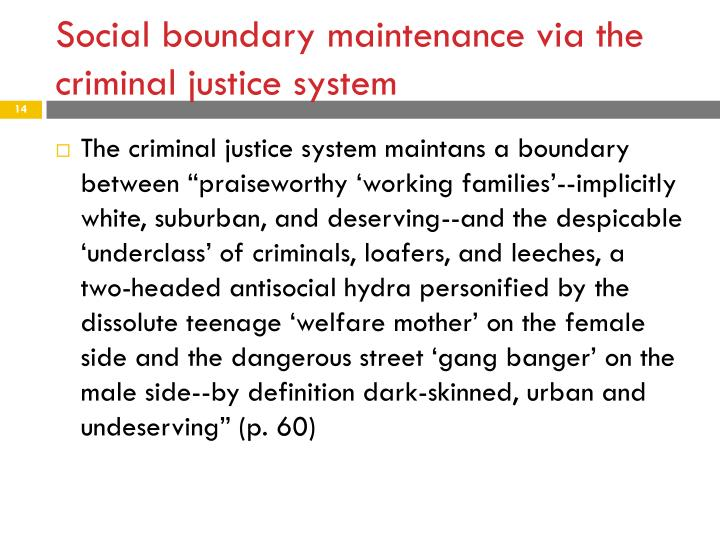 Social boundary maintenance via the criminal justice system