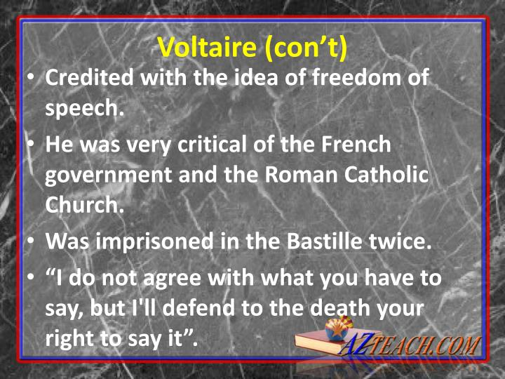 Credited with the idea of freedom of speech.