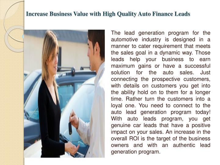 Increase Business Value with High Quality Auto Finance Leads