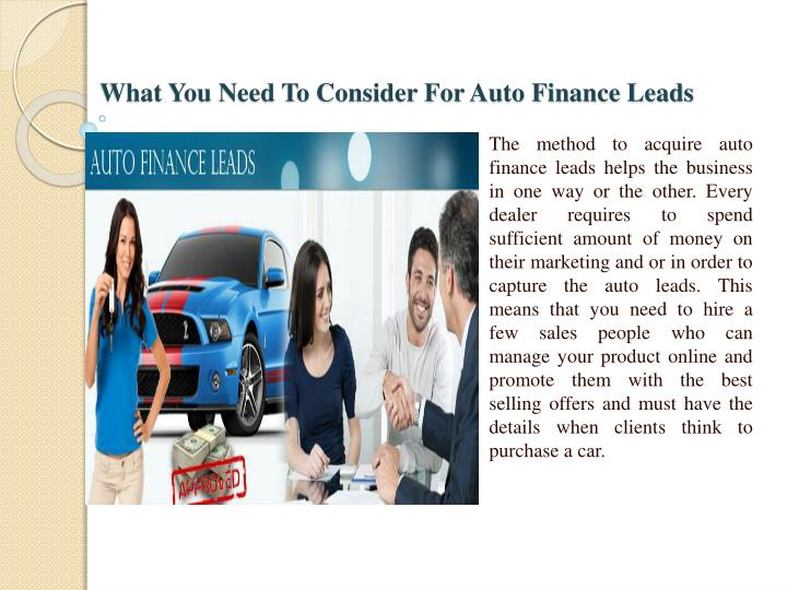 What You Need To Consider For Auto Finance Leads