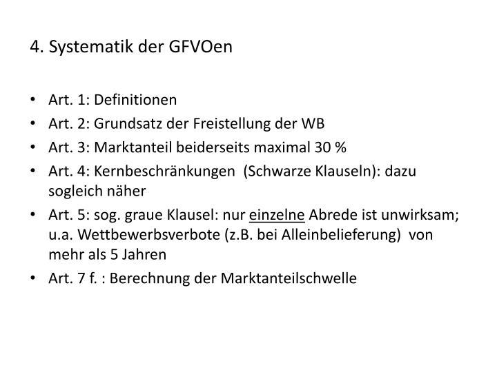 4. Systematik der GFVOen