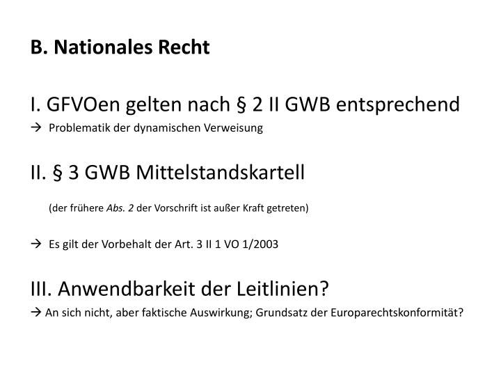 B. Nationales Recht