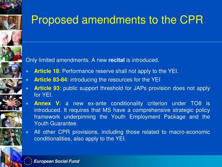 Proposed amendments to the CPR
