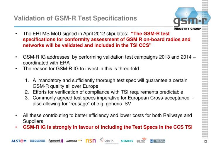 Validation of GSM-R Test Specifications