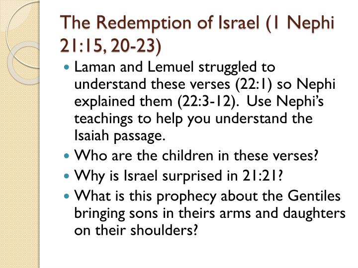 The Redemption of Israel (1 Nephi 21:15, 20-23)