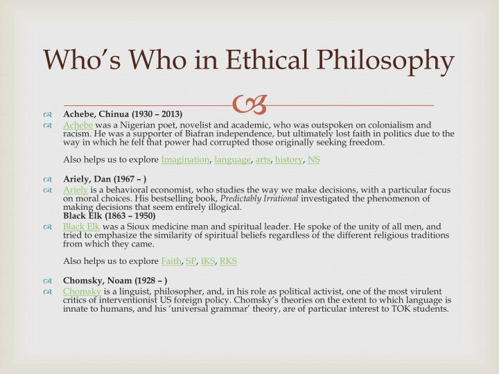 Who's Who in Ethical Philosophy