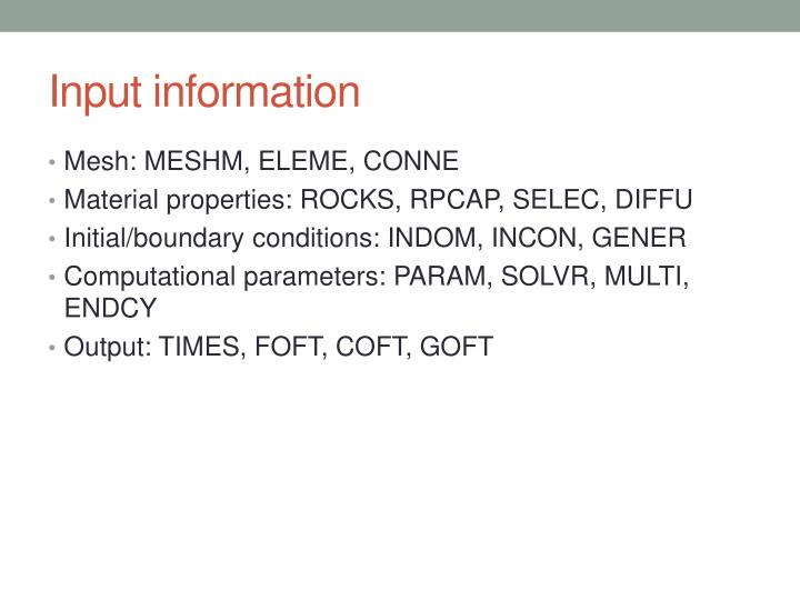 Input information
