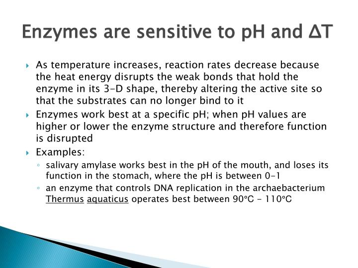 Enzymes are sensitive to pH and ΔT