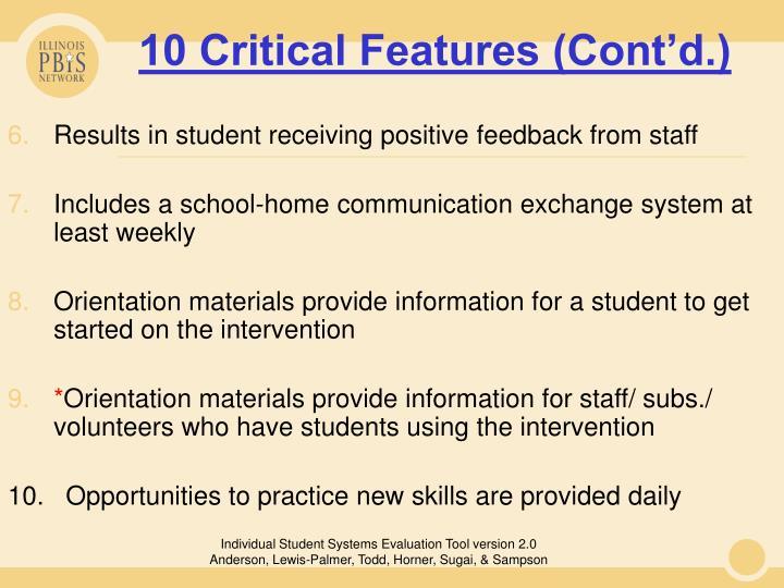 10 Critical Features (Cont'd.)