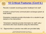 10 critical features cont d