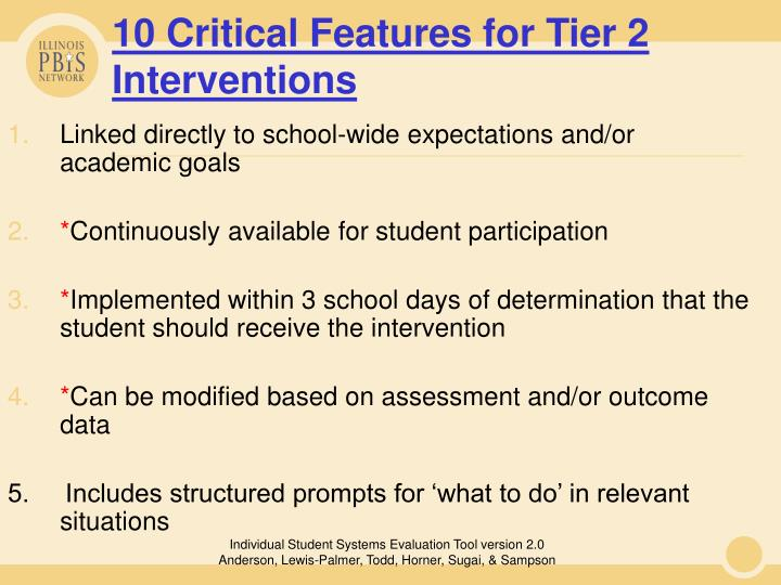 10 Critical Features for Tier 2 Interventions