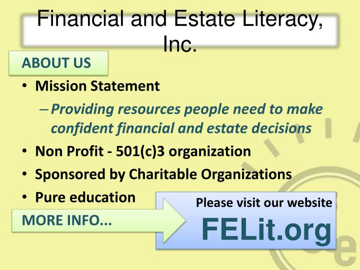 Financial and estate literacy inc