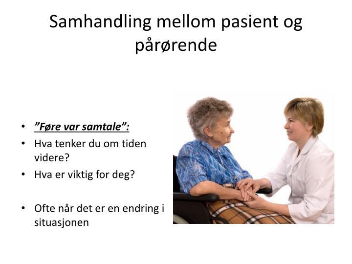 Samhandling mellom pasient og pårørende