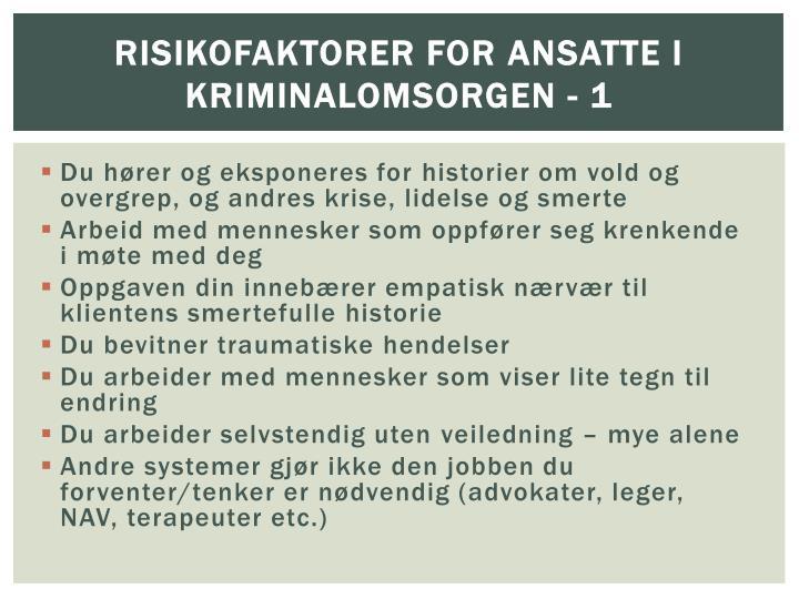 Risikofaktorer for