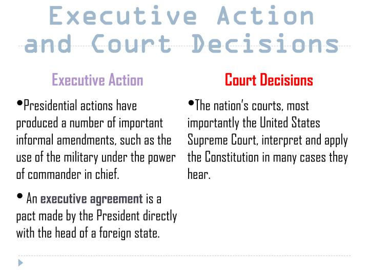 Executive Action and Court Decisions