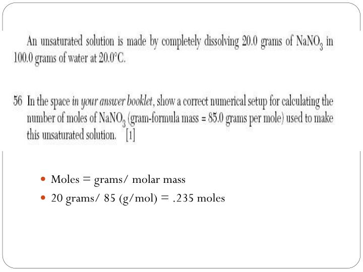 Moles = grams/ molar mass