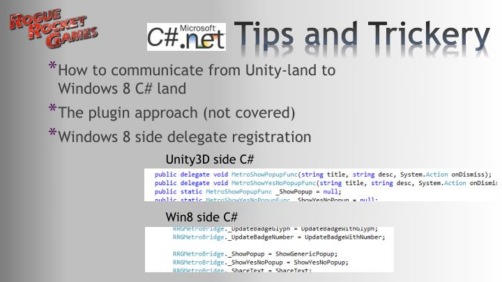 How to communicate from Unity-land to Windows 8 C# land