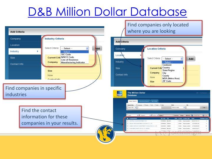 D&B Million Dollar Database
