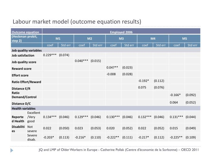 Labour market model (outcome equation results)