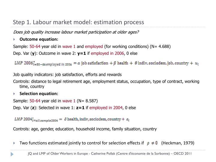 Step 1. Labour market model: estimation process