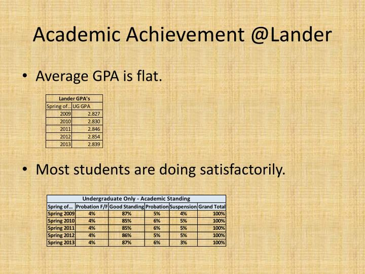 Academic Achievement @Lander