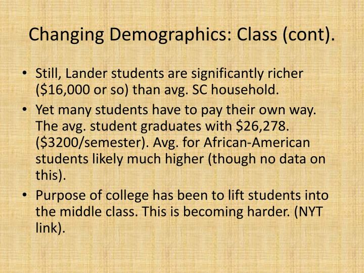 Changing Demographics: Class (
