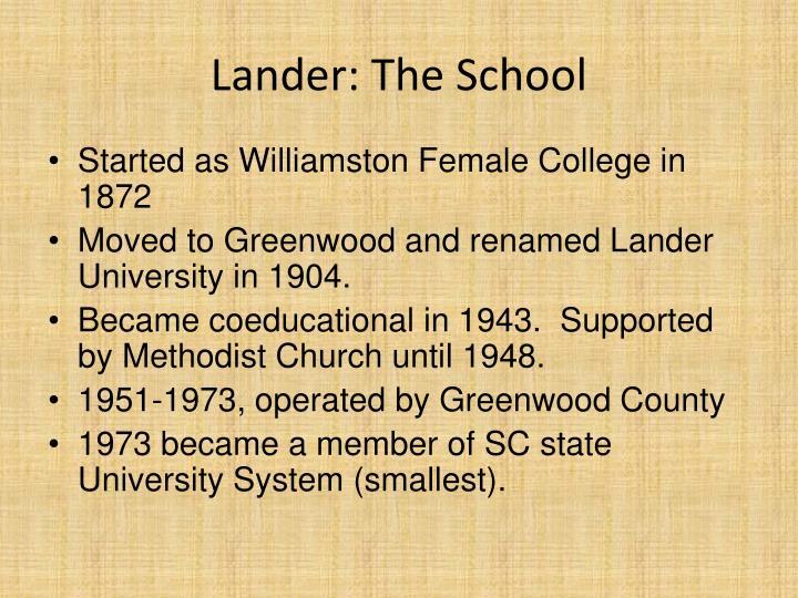 Lander: The School
