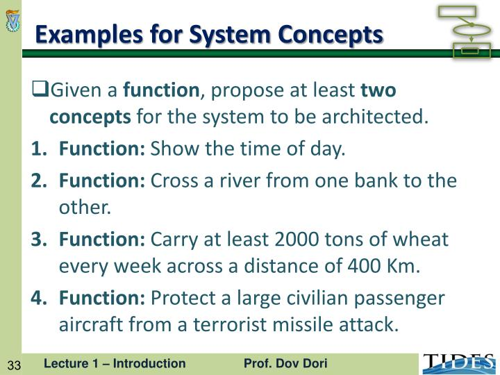 Examples for System Concepts