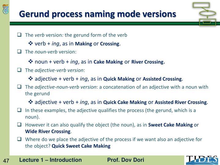 Gerund process naming mode