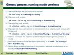 gerund process naming mode versions