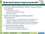 model based systems engineering benefits