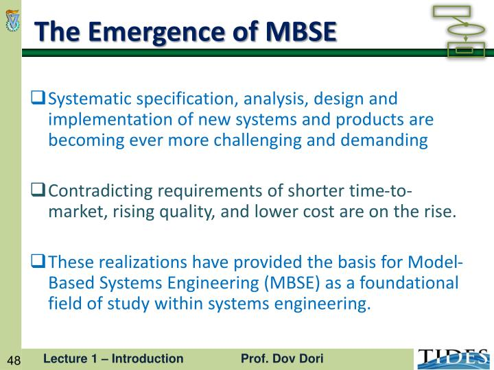 The Emergence of MBSE