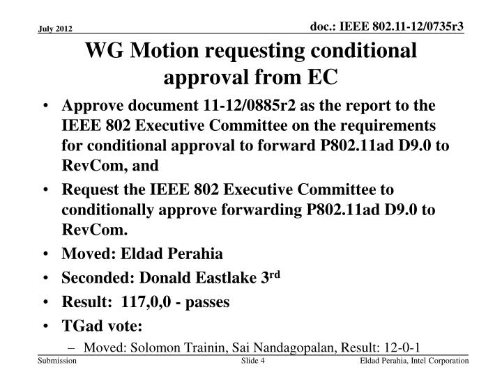 WG Motion requesting conditional approval from EC