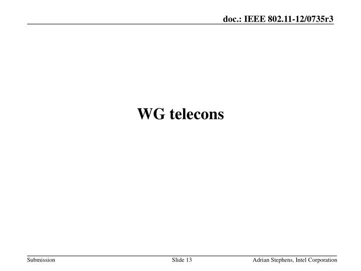 WG telecons