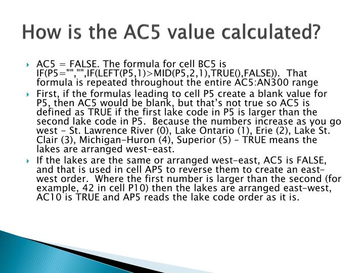 How is the AC5 value calculated?