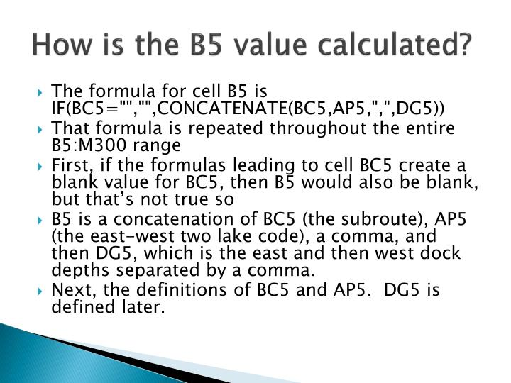 How is the B5 value calculated?